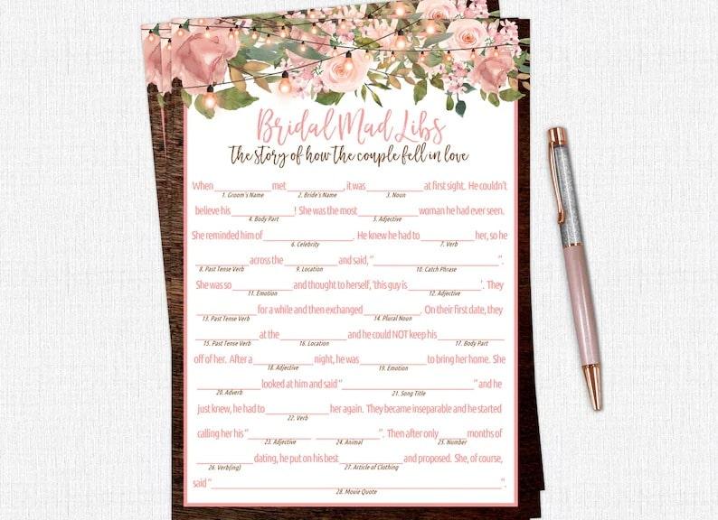 Bridal Shower Mad Libs, Love Story Mad Libs, Wedding Mad Libs, Printable Funny Bridal Shower Games, Rustic, Mason Jar, Instant Download