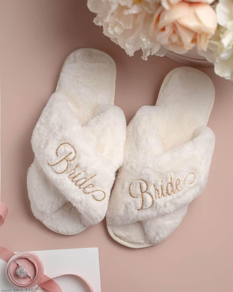 Personalized Bridal Slipper Bridesmaid Gifts Bridal Shower   Etsy