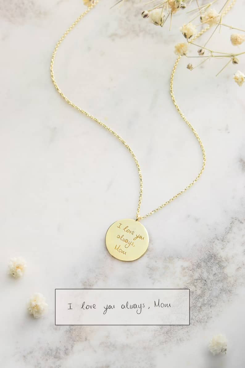 Gold Handwritten Pendant, 9K 14K 18K Yellow Gold Necklace, Engraved Disc Charm, Personalized Jewelry, Custom Disc, Handwriting Gift For Her