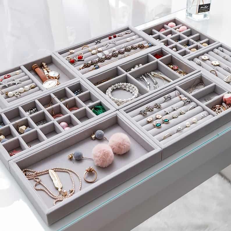 1pc Velvet Jewelry Trays Organizer Jewelry Storage Display   Etsy