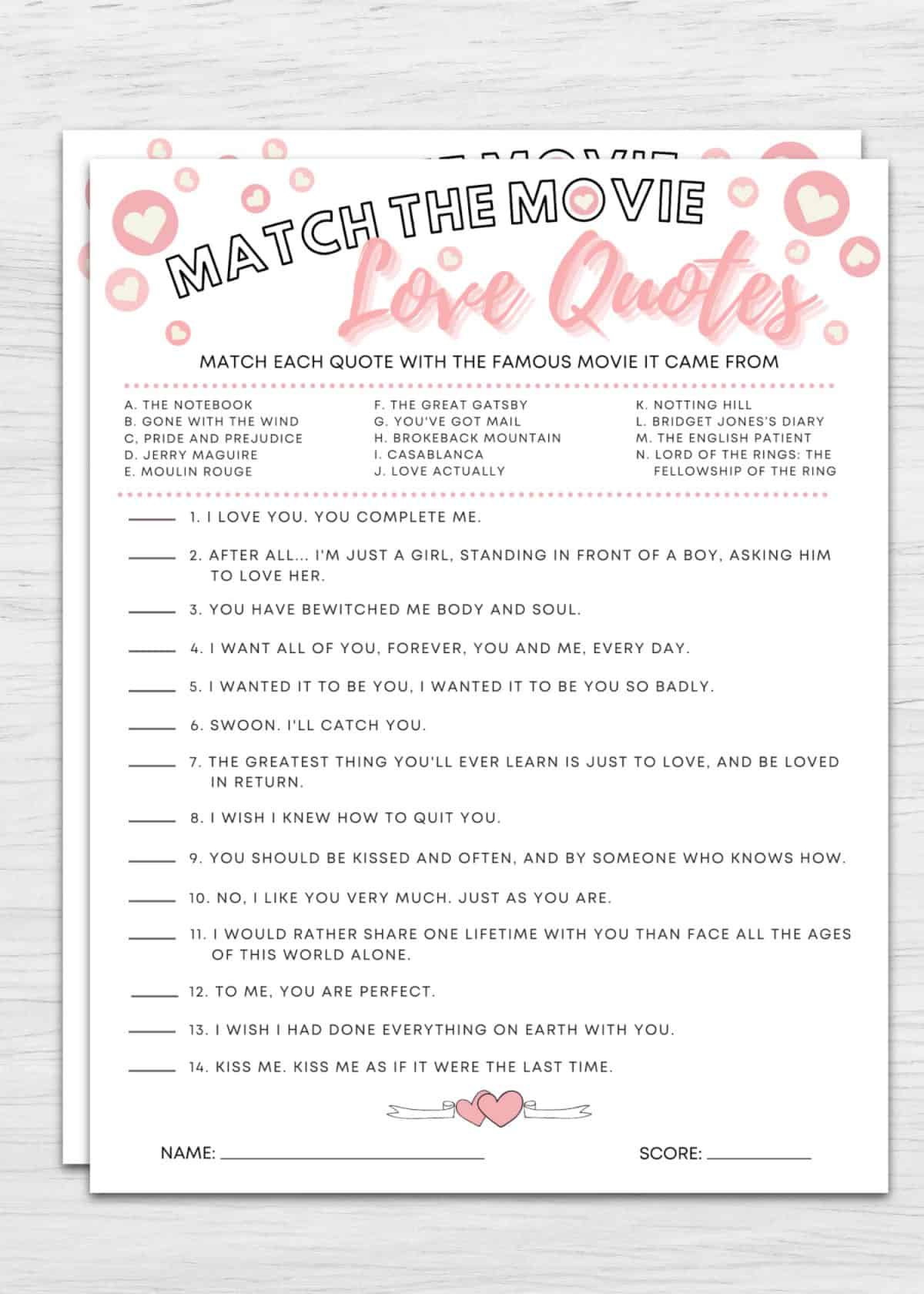 match the movie love quotes bridal shower game