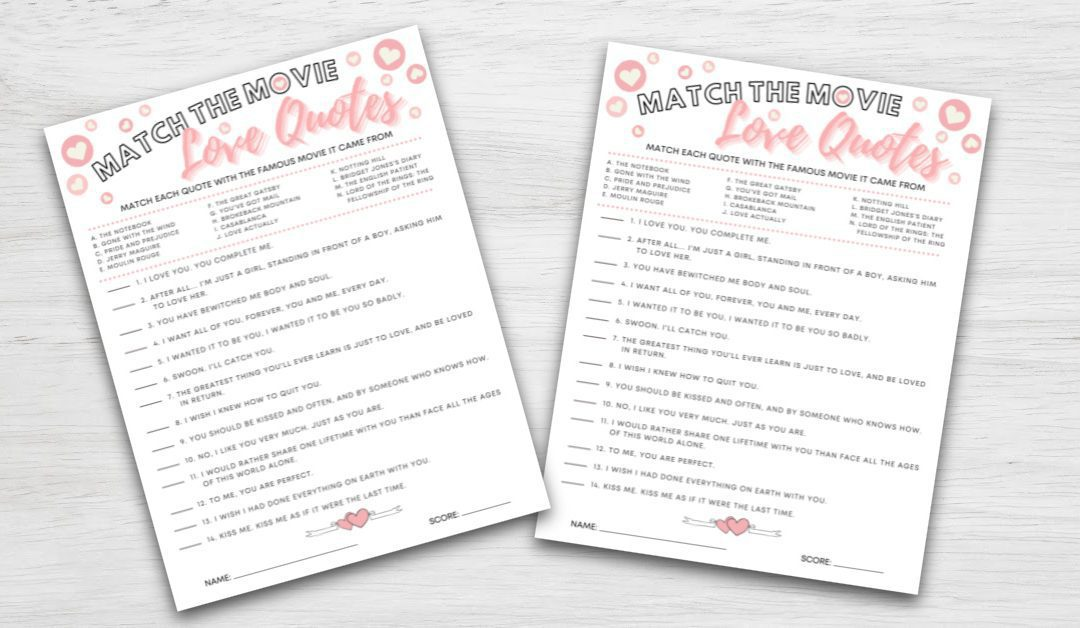 Match the Movie Love Quotes Printable Bridal Shower Game