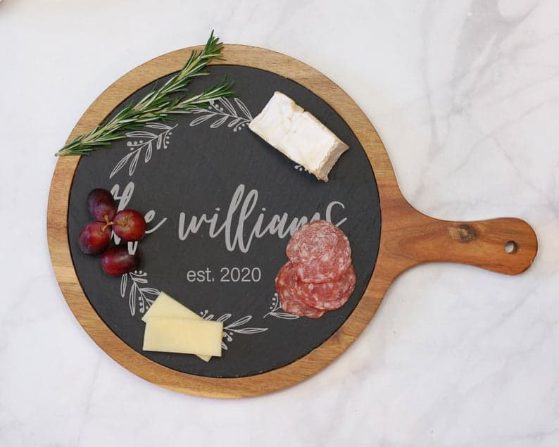 Custom Round Cheese Board Charcuterie Board Slate Meat and   Etsy