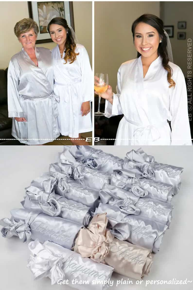 wedding robes set of 5 monogrammed robes silver grey image 0