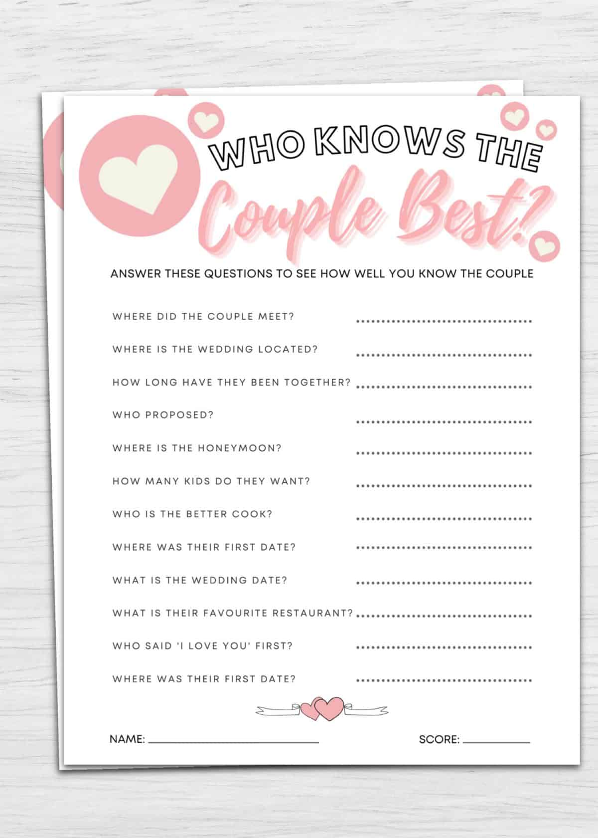 who knows the couple best printable