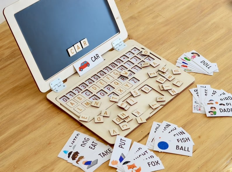 wooden laptop for kids