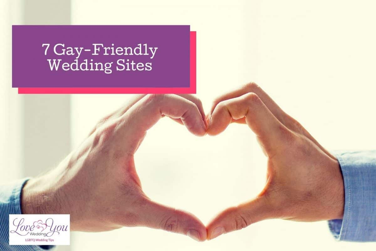 """hands formed heart shape beside """"gay-friendly wedding sites'' text"""