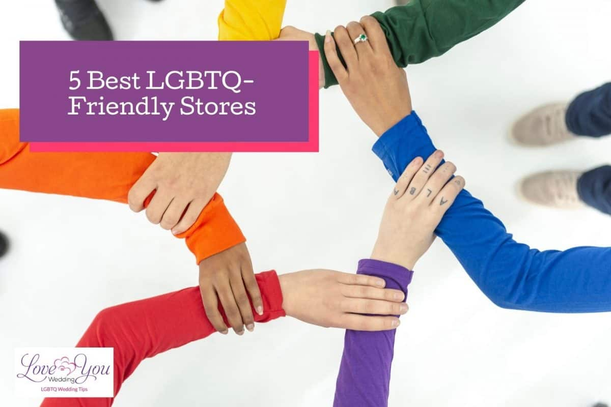 """arms forming unity beside """"best LGBTQ Friendly Stores"""" text"""