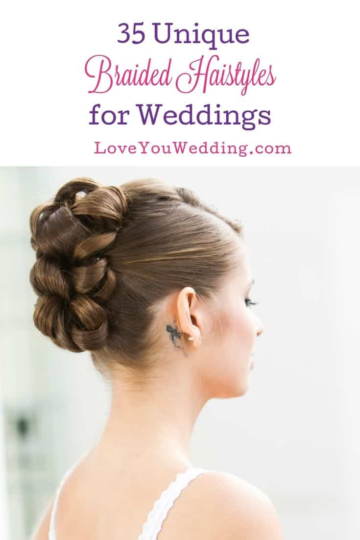 bride with pretty braided hairstyle for wedding