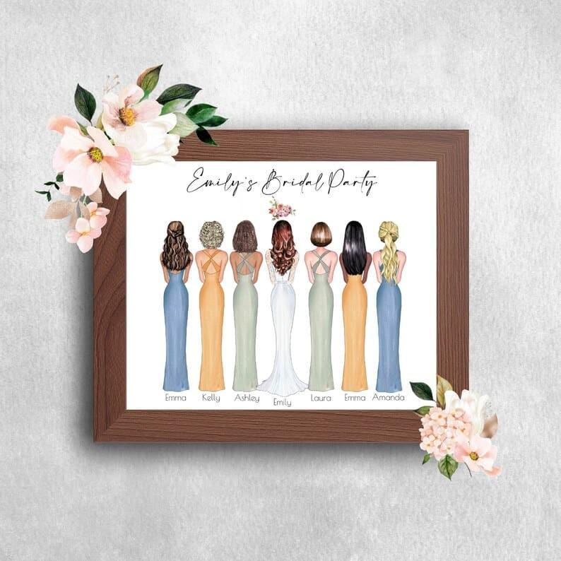 Personalised Bridesmaid Print Personalised Bridesmaid Wedding | Etsy