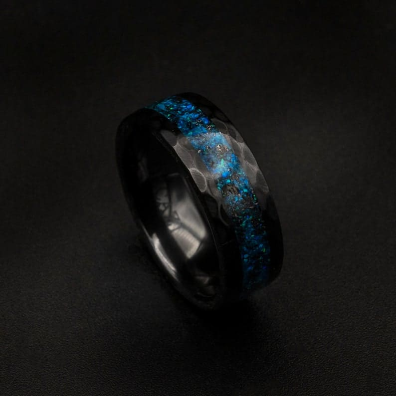 Black Ceramic Opal Inlay Wedding Band Unique Wedding Band | Etsy