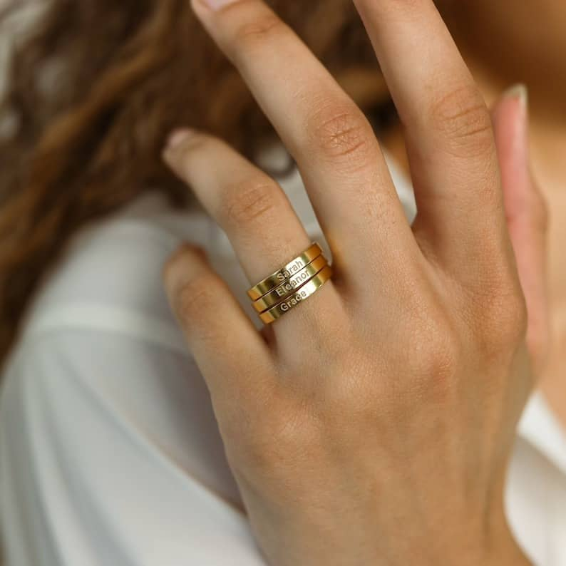 Name Band  Custom Name Ring  Skinny Engraved Ring  Engraved | Etsy