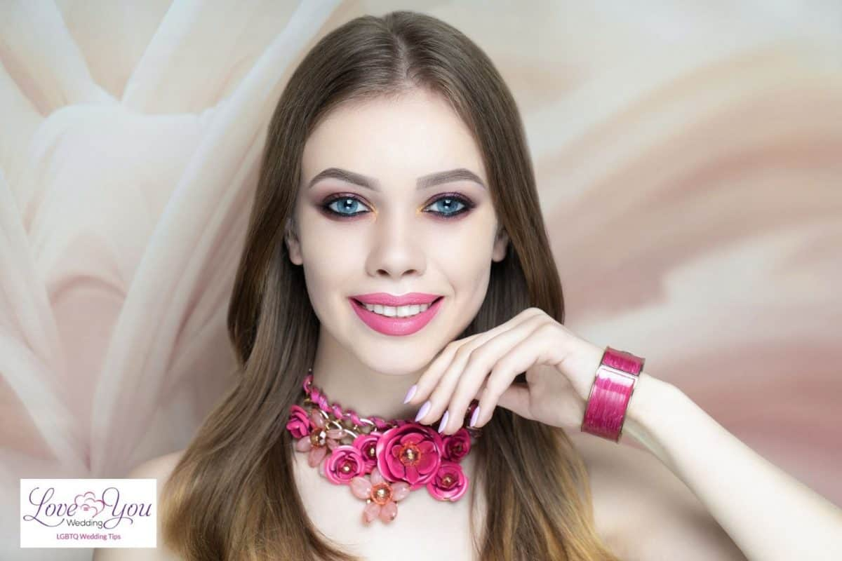 pretty girl with pink floral statement necklace