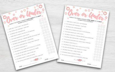 Over or Under Bridal Shower Game Printable