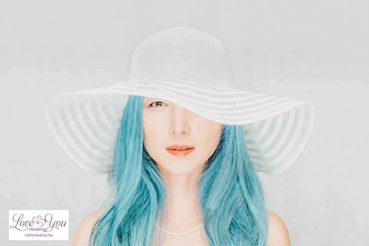 bride with blue hair