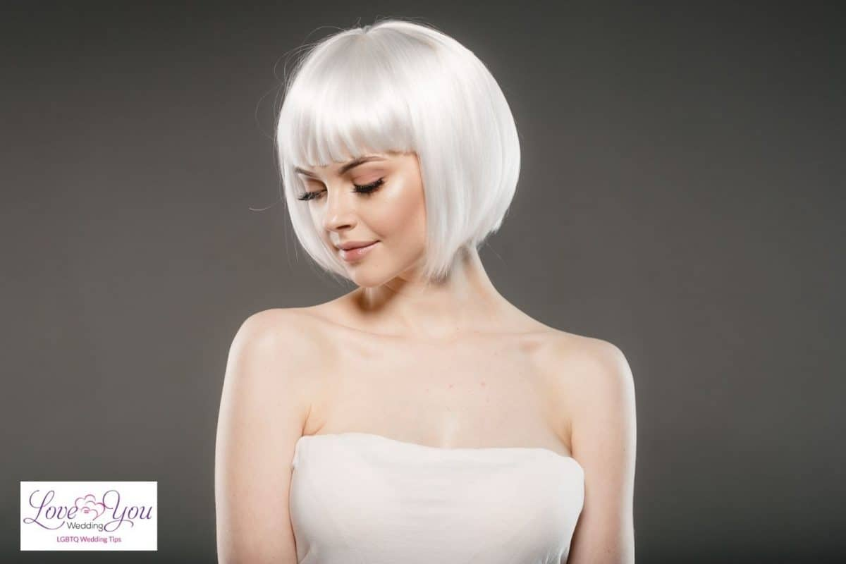 bride with short white hair