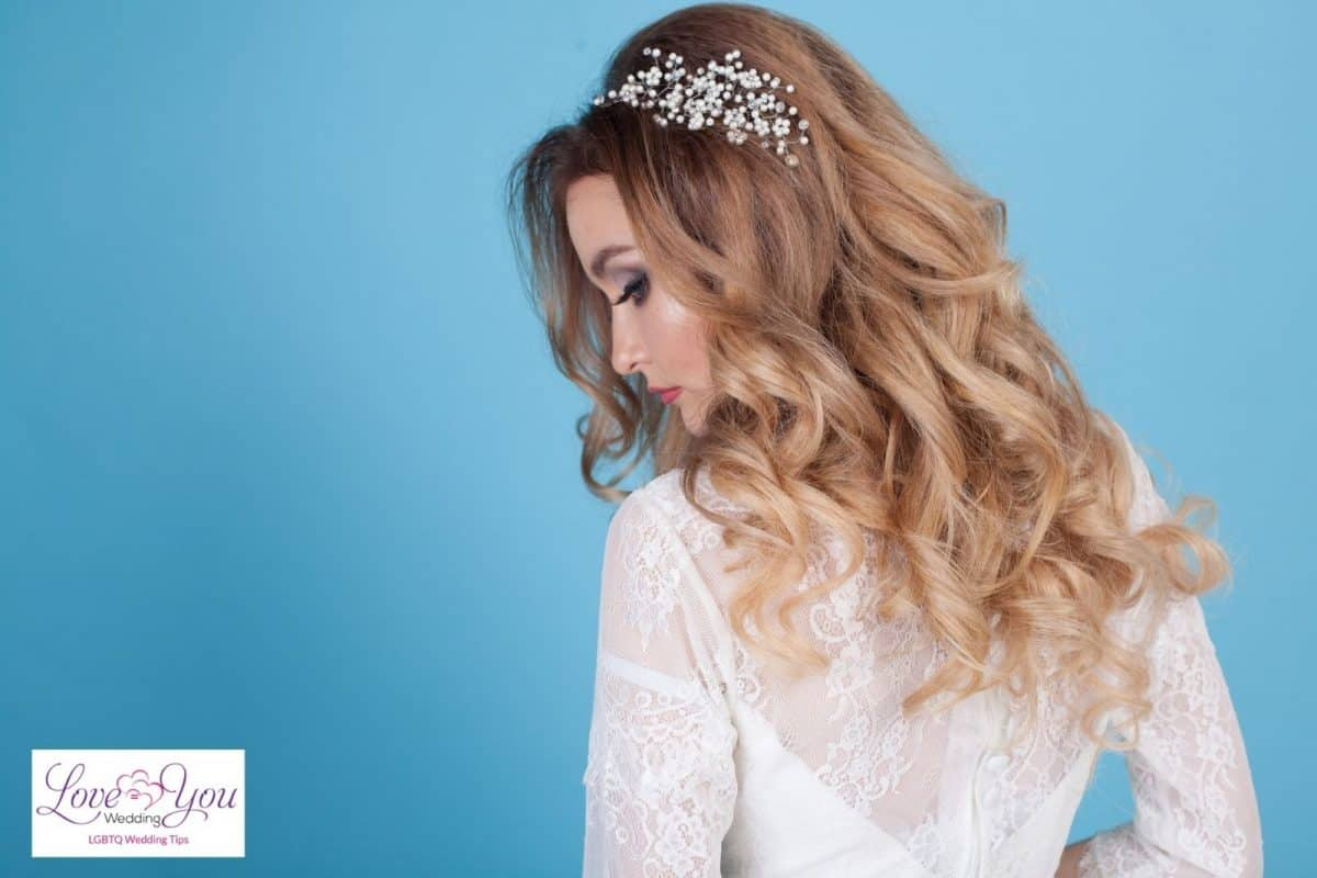 bride with loose curls