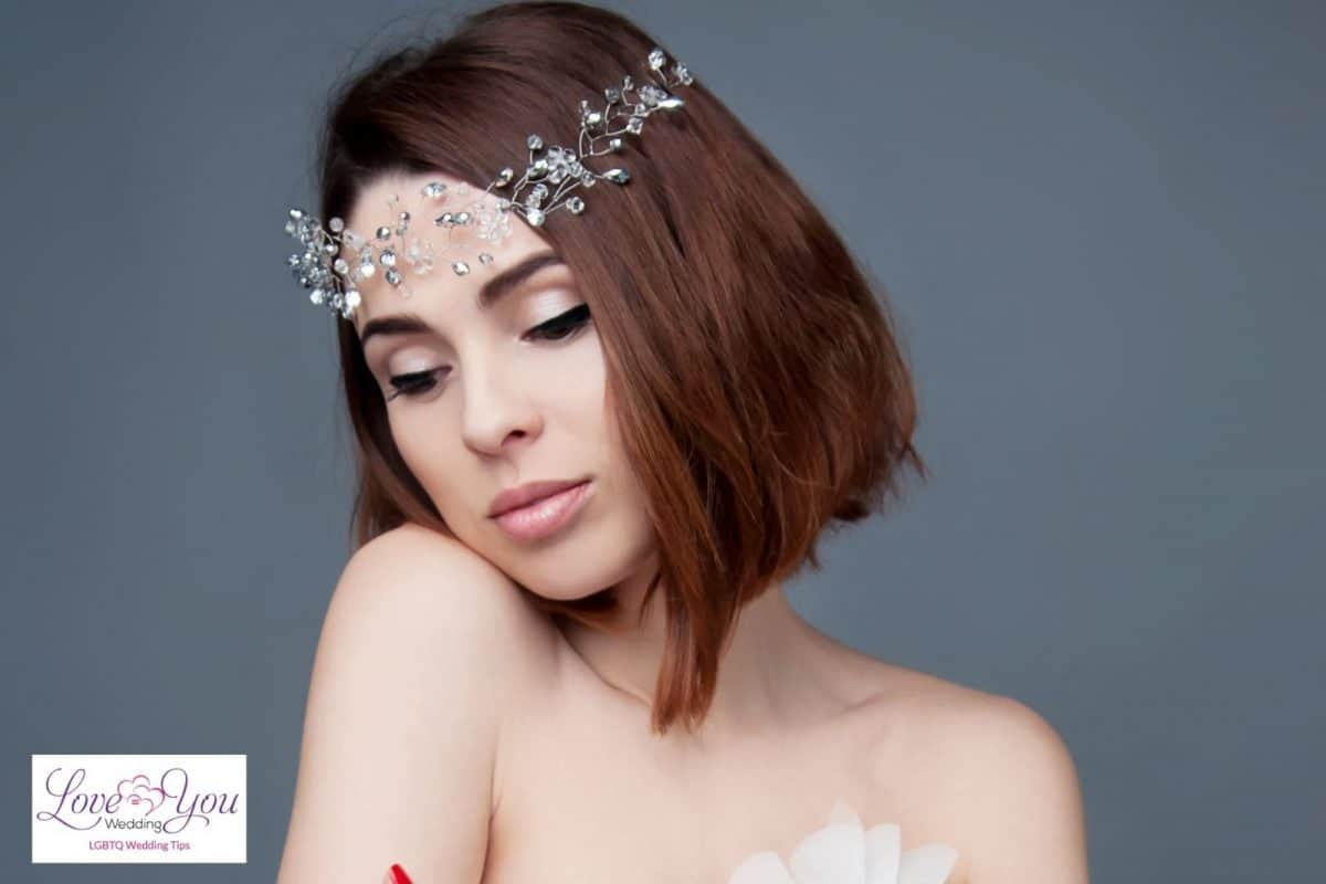 short hair with floral accessory