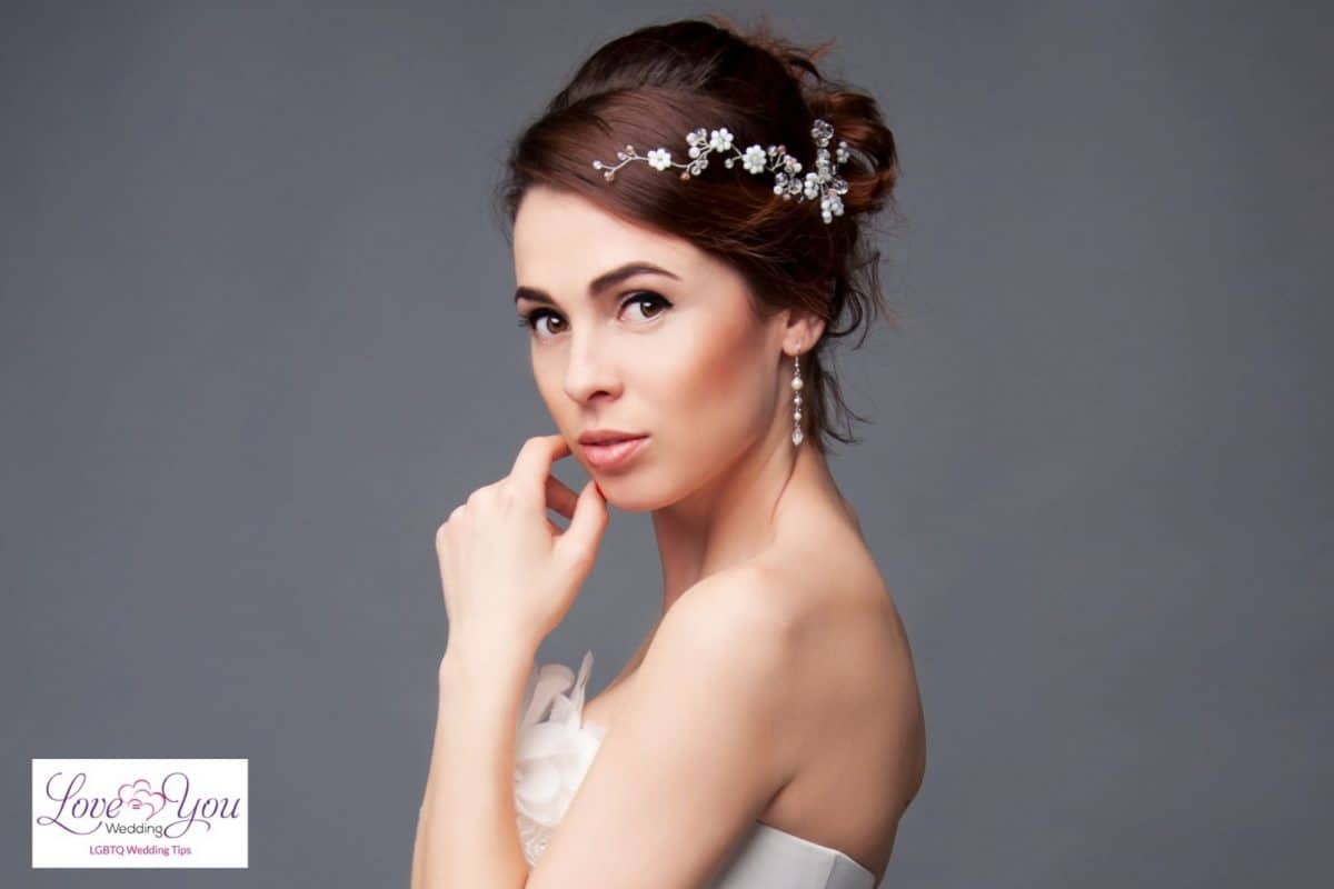bride with short hair and headband