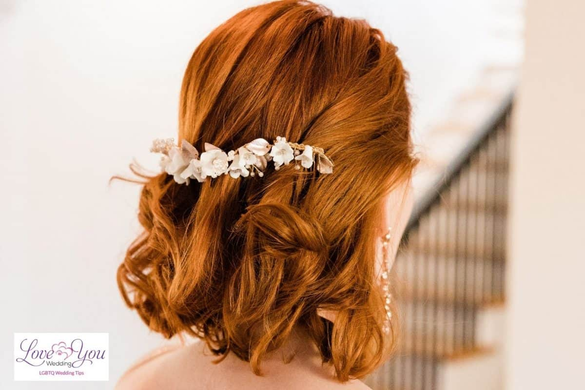 bride with above the shoulder hair