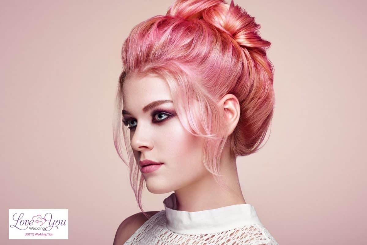 bride with rose gold hair
