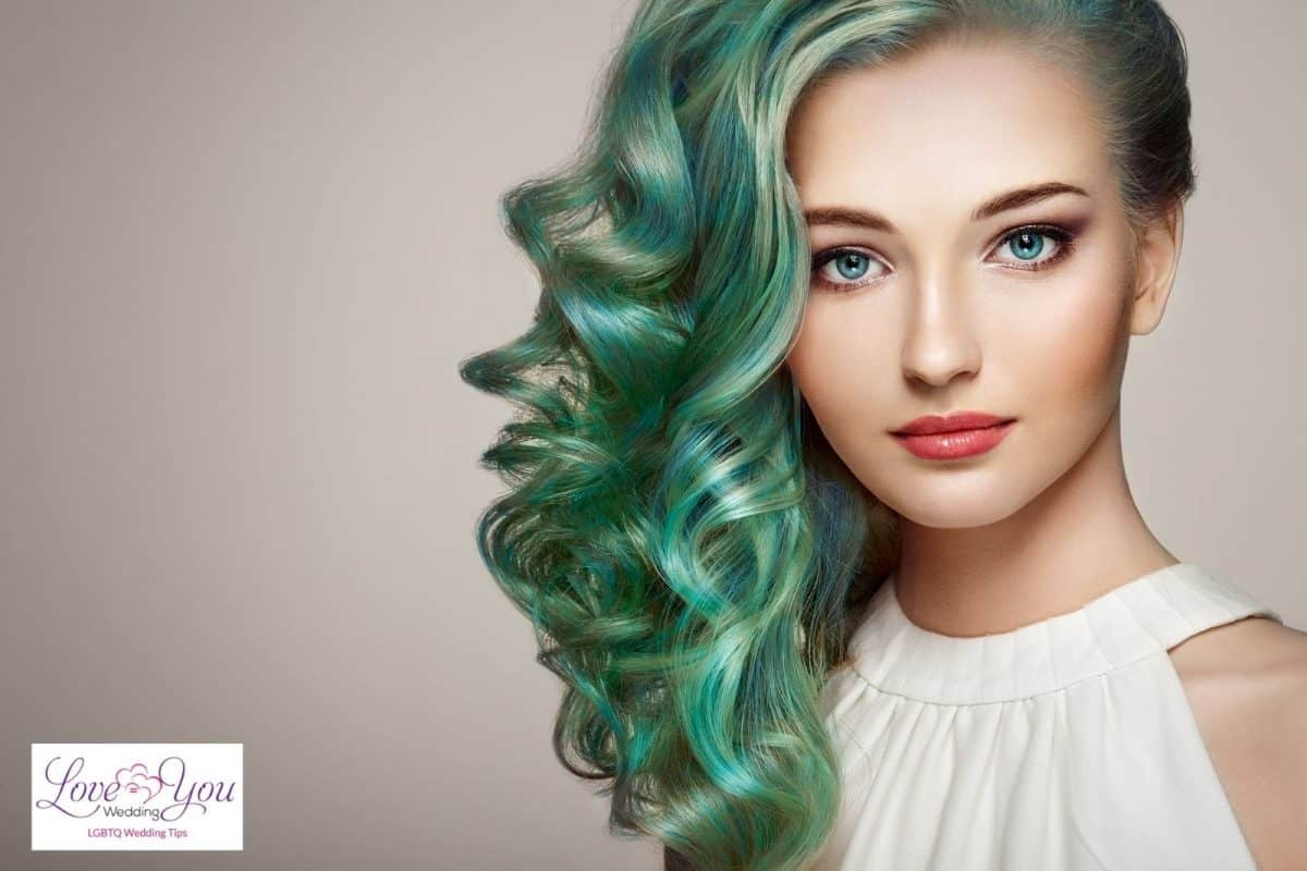 pretty lady with curly green hair