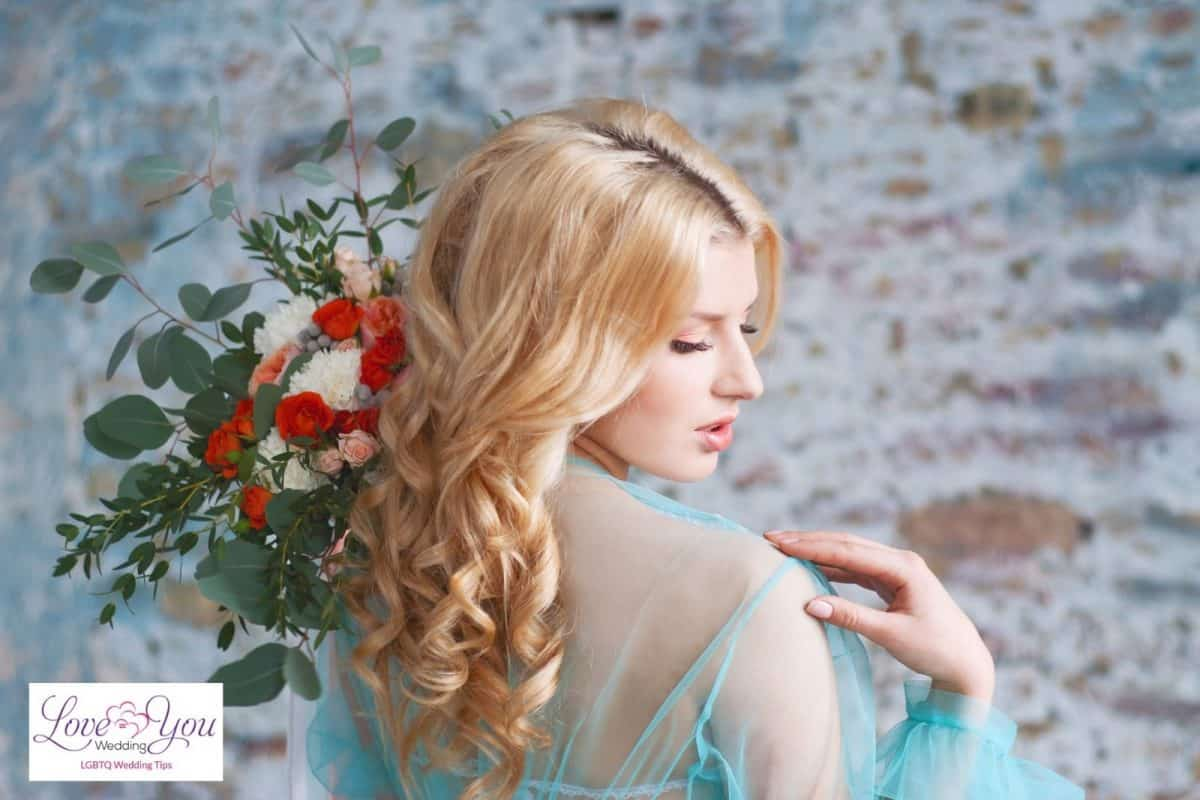 pretty bride with curly colored-hair