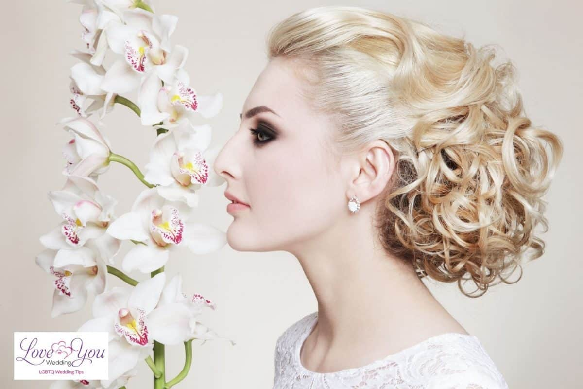 bride with updo of curls