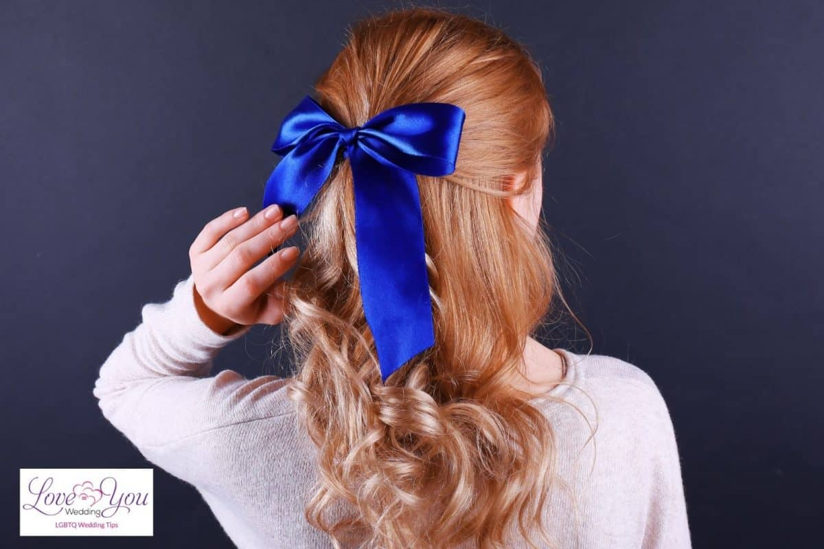 half up and half down with blue ribbon hairstyle
