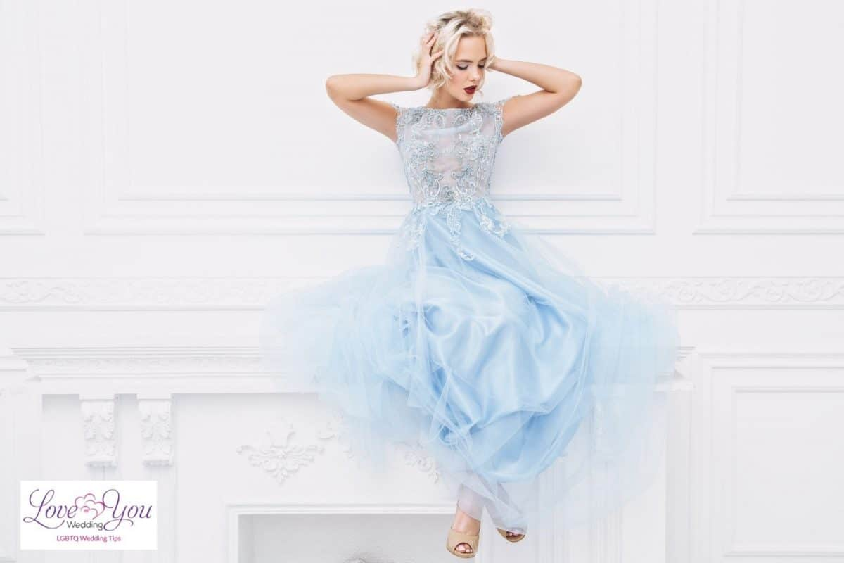 short-haired bride with blue dress