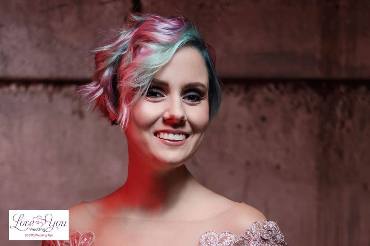 bride with short pink hair