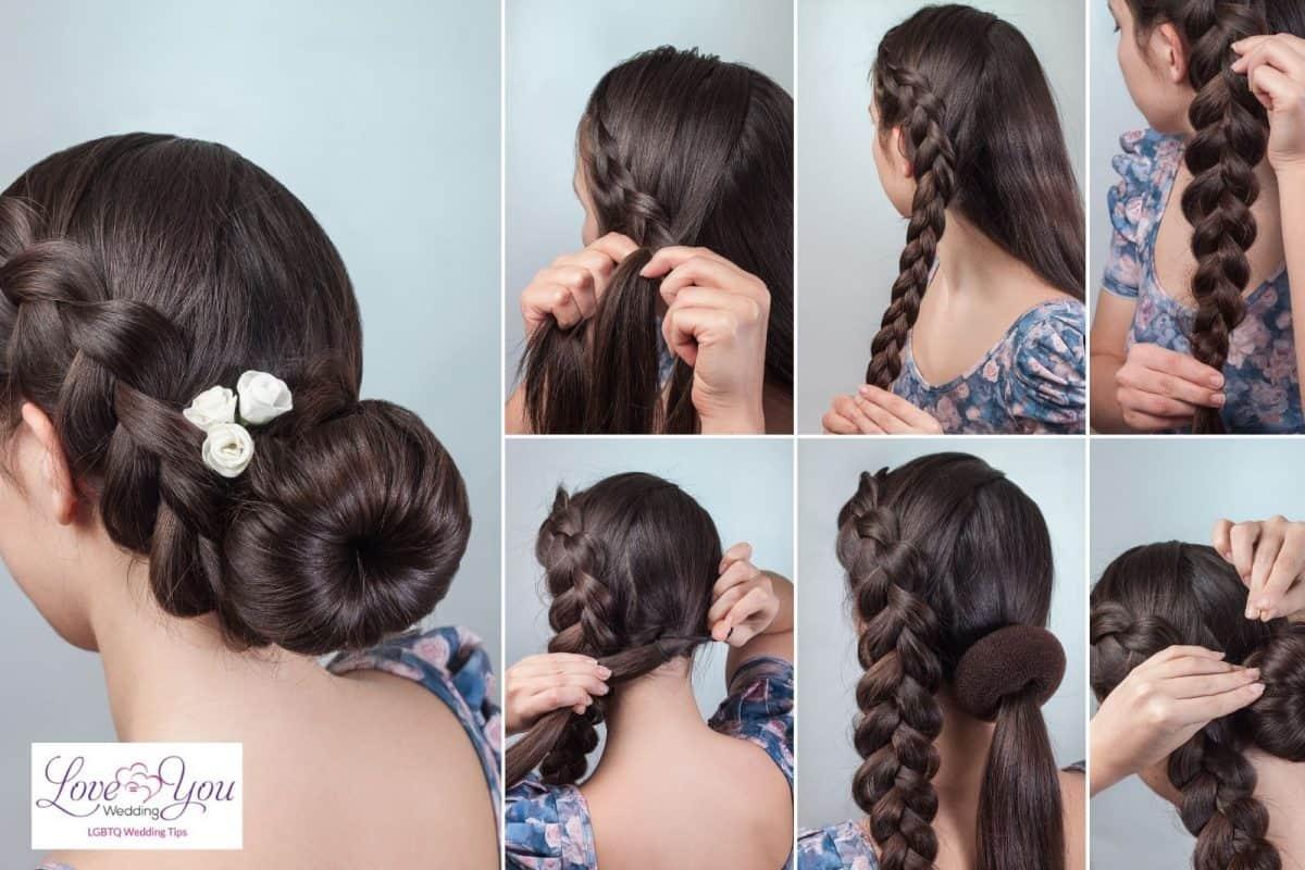 bride with braided bun