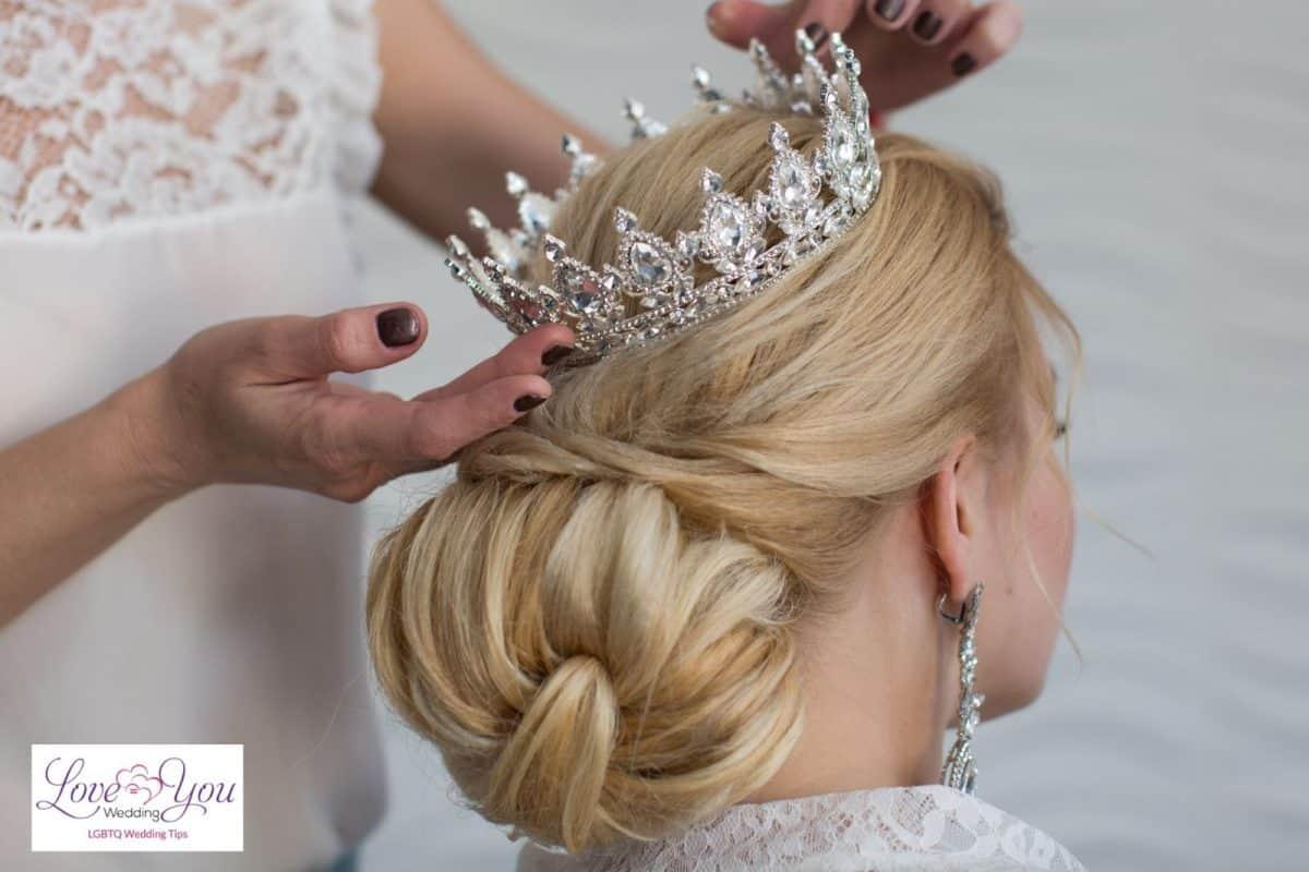 bulky bun with a tiara
