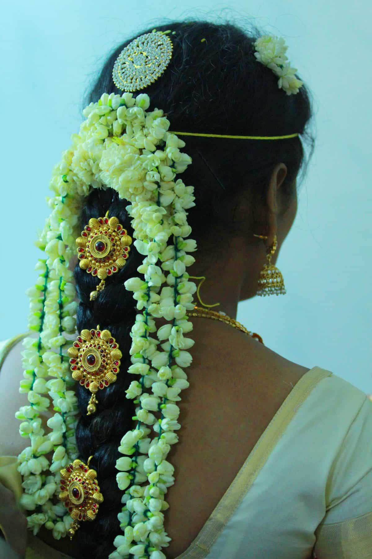 Indian Wedding Hairstyles with jasmine bands