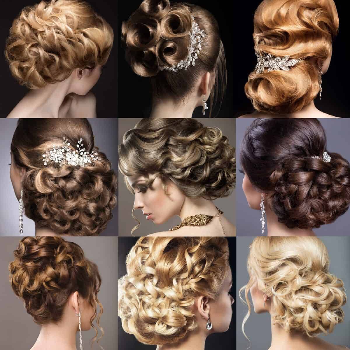 Collection of wedding hairstyles.