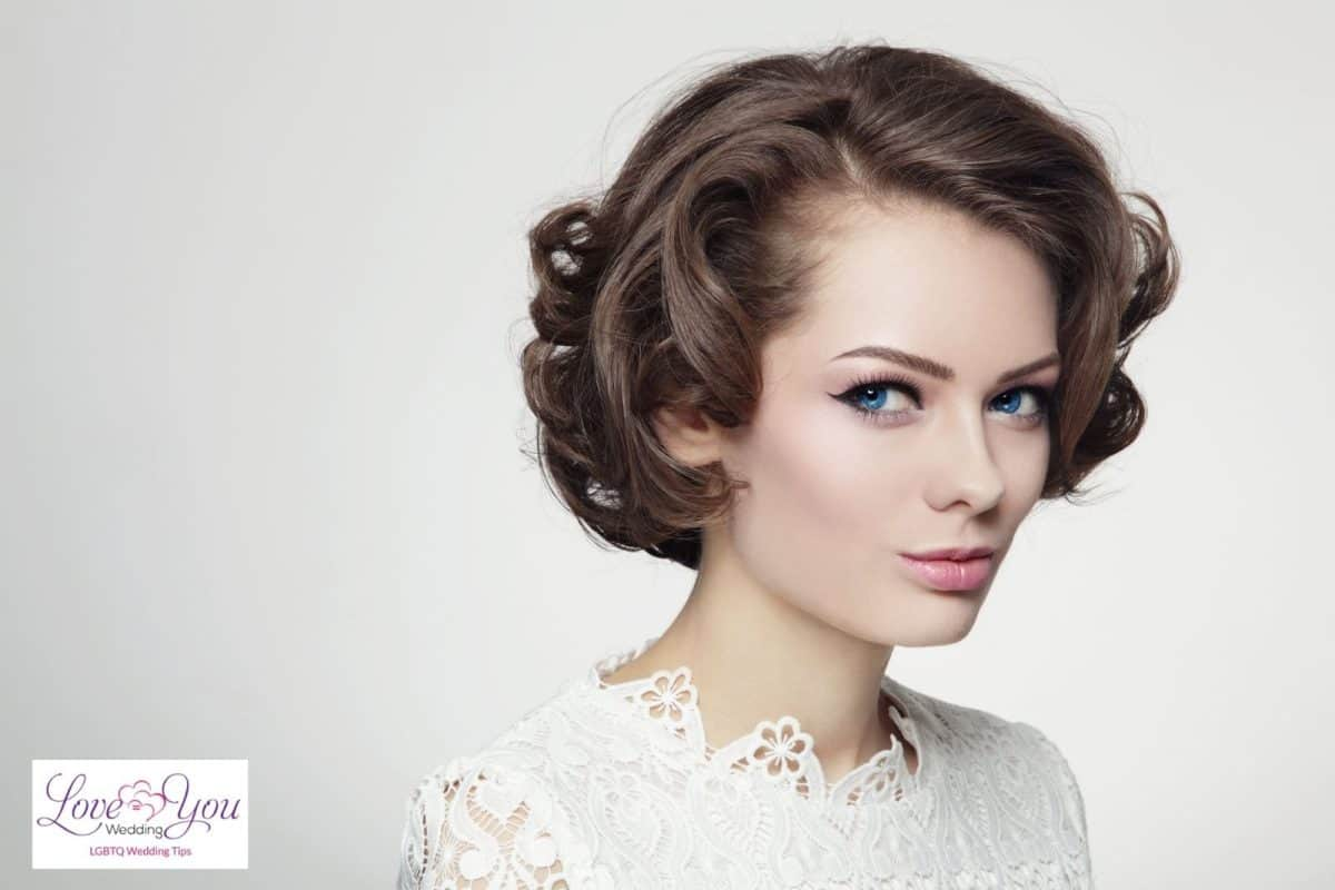 bride with classic curly hair